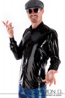 Preview: A man wears a shiny Slim Fit Latex Men shirt in black with button facing and lapel collar