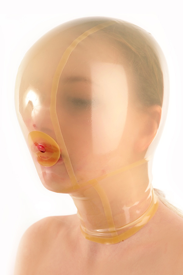 Transparent Breath play latex mask