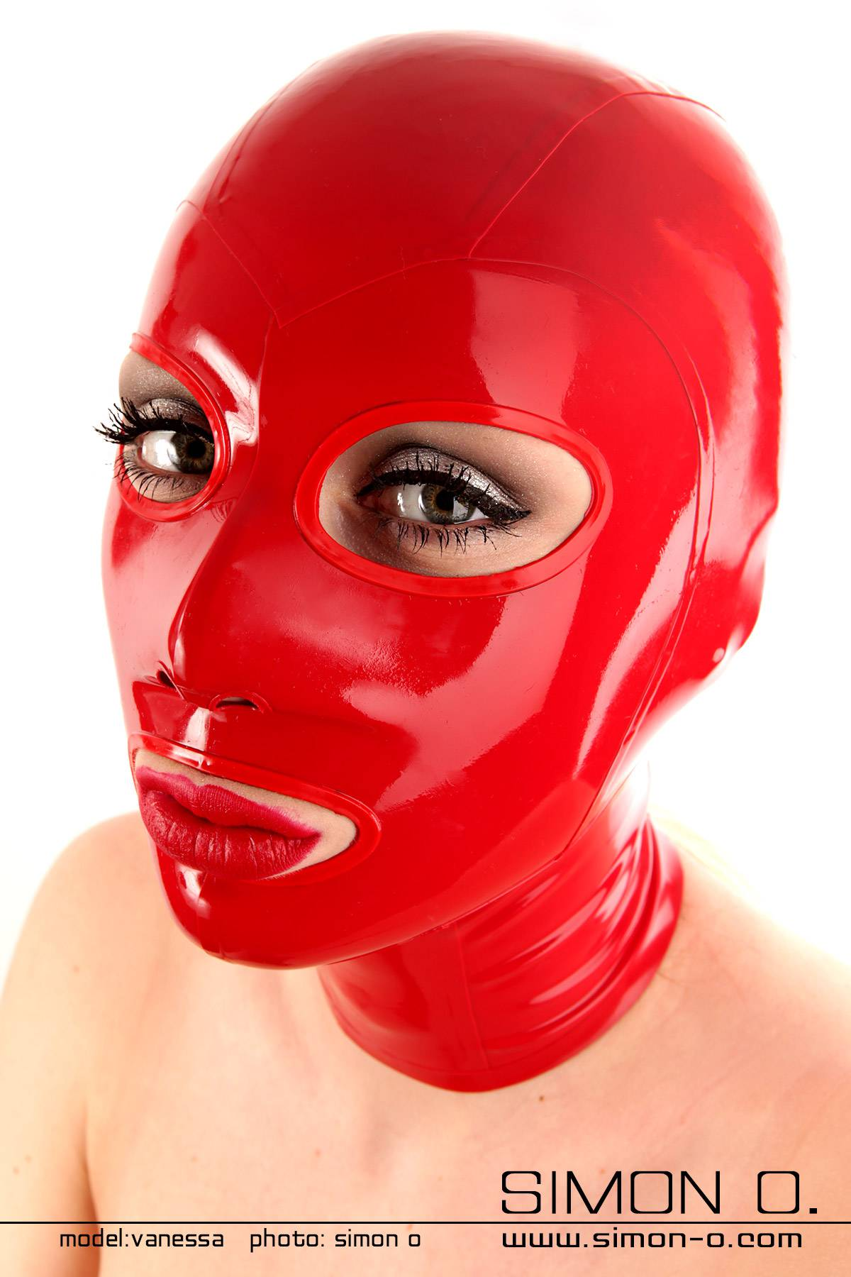 Red shiny latex hood with bordered eyes and mouth