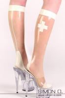 Vorschau: Latex Stutzen Krankenschwester Latex Stutzen mit Kreuz seitlich Naht hinten und Abschluss. Der Fußteil mit Spitze und Ferse ist verstärkt und anatomisch …