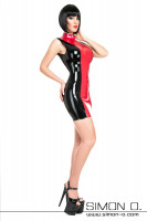 Preview: A woman wearing a skin tight latex mini dress with stand-up collar in black combined with red