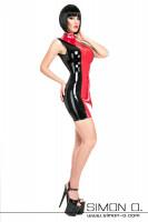 Vorschau: Eine Frau trägt ein haut enges Latex Minikleid mit Stehkragen in Schwarz mit Rot kombiniert