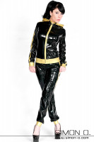 Preview: Jogging gloss outfit made of latex in black with gold for leisure and fintness