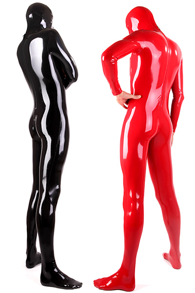 Latex suit for men and black and red Two men in a shiny red and black full body latex suit with skintight fit