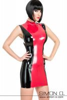 Vorschau: Hauteneges Latex Minikleid in Rot mit Schwarz von vorne gesehen