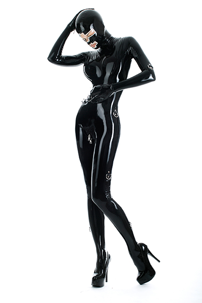 Latex Bondage Catsuit in Schwarz