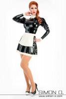 Vorschau: Latex Dienstmädchen Kleid in Schwarz mit weiß mit Stehkragen und Latexschürze