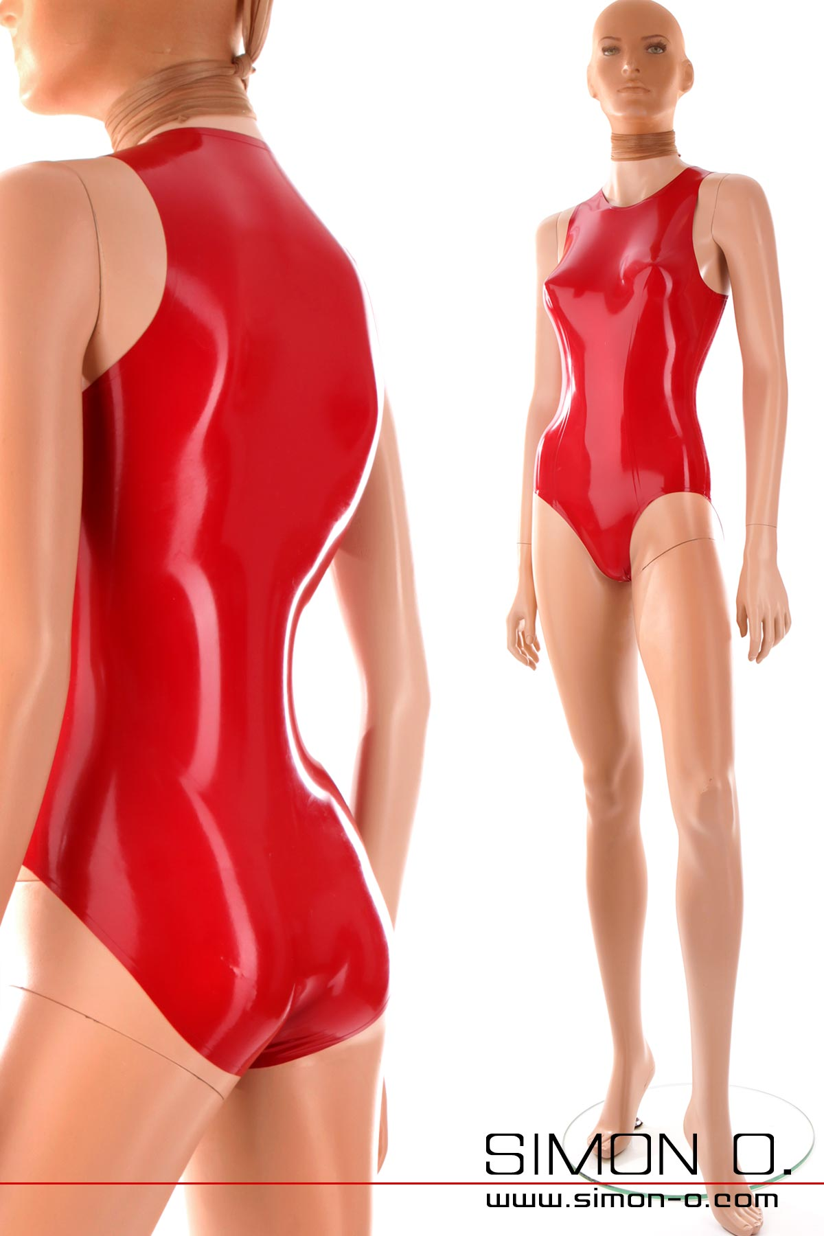 Red latex body with round neckline