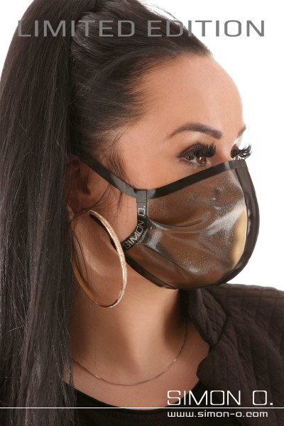 Shiny mouth and nose protection made of latex with glitter effect in the color black transparent