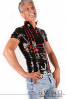 Preview: Short sleeve latex shirt for men with zipper Men's two-coloured high-neck latex shirt with short sleeves and stripe design in front. You select the main …