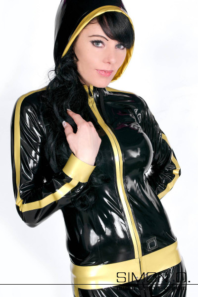 Shiny latex jacket in black with gold for jogging and fintness