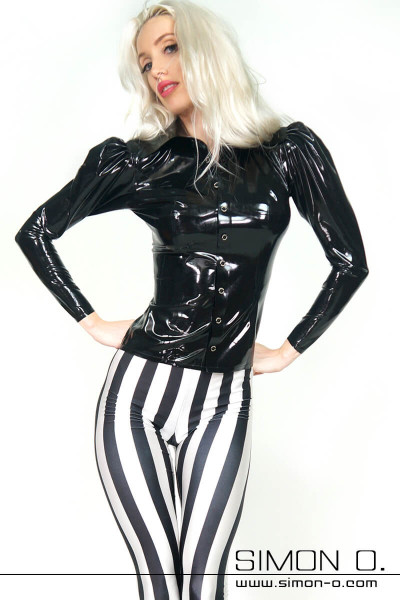 Blonde woman with a tight shiny latex blouse with puff sleeves and a white black striped trousers