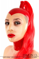 Preview: Domina Latex Maske in Rot mit transparentem Gesicht und Haarteil in Rot