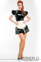 Preview: Maid dress made of latex in black with white including latex apron seen from the front