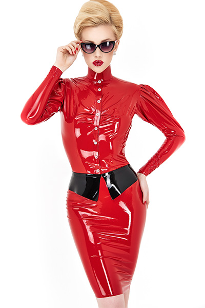 Shiny red latex blouse for women with buttons