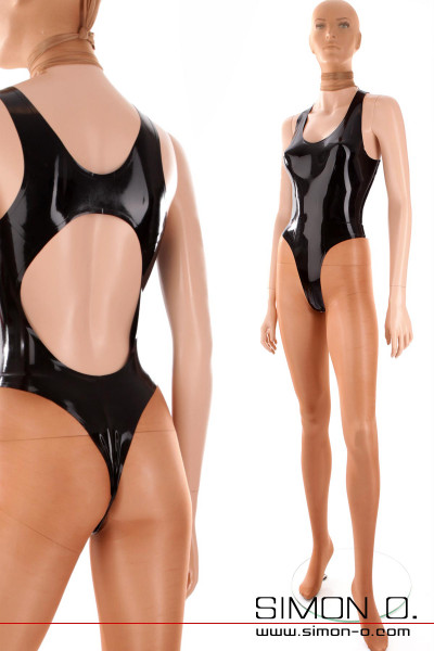 Black latex swimsuit with sexy back cutout and string