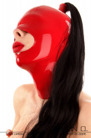 Preview: A woman's head with a latex hood in red with large mouth opening and hairpiece in black