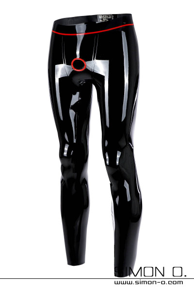 Shiny skintight latex leggings in black with red cock ring