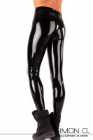 Preview: Sporty shiny leggings made of latex in black for men seen from behind