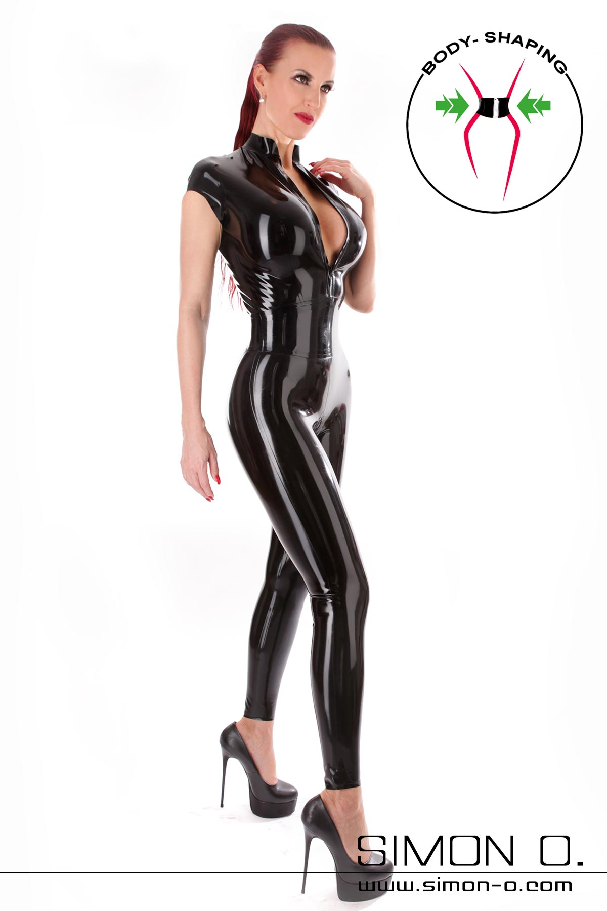 Black short sleeve latex catsuit with integrated corset