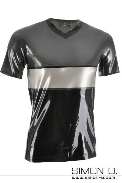 Dreifarbiges kurzarm Latex Shirt in den Farben metallic grau, silber und Schwarz