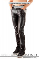 Preview: A black chlorinated latex jeans for men with pockets from the front