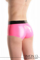 Preview: A shiny tight latex hot pant in pink with black waistband seen from behind