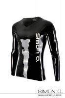 Preview: Shiny long sleeve latex shirt in black with white Simon O. Logo on the front side