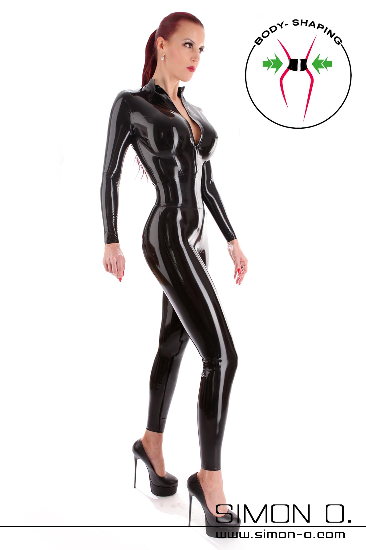 Skin tight latex catsuit with zip in front and incorporated corset in shiny black