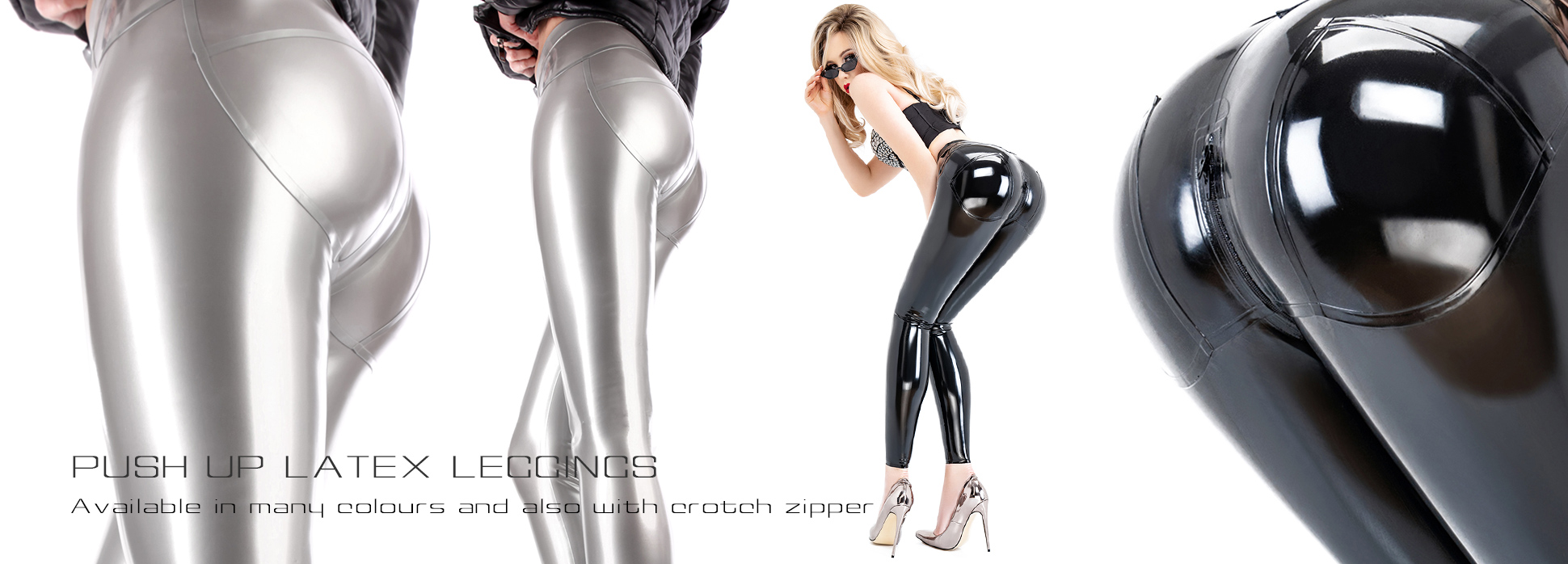 Latex Leggings with push up effect in black and shiny silver