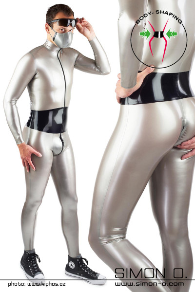 Latex suit with color contrasting corset belt Skin tight latex suit with perfect fit and wide corset belt. The belt is made of thick latex and is firmly glued …