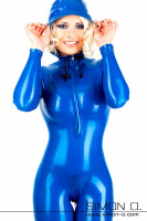 Preview: Woman in a shiny skintight blue Hooded Latex Catsuit