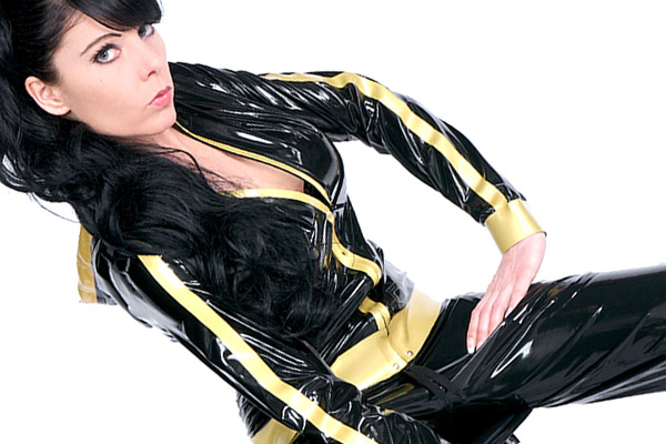 Black latex jacket with hood two colors