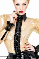 Preview: Transparent latex blouse with black reserve collar cuffs and button placket with frills bordered