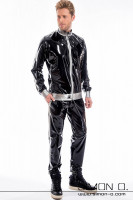 Preview: A man wearing a shiny jogging pants and a latex jacket with pockets in black combined with silver