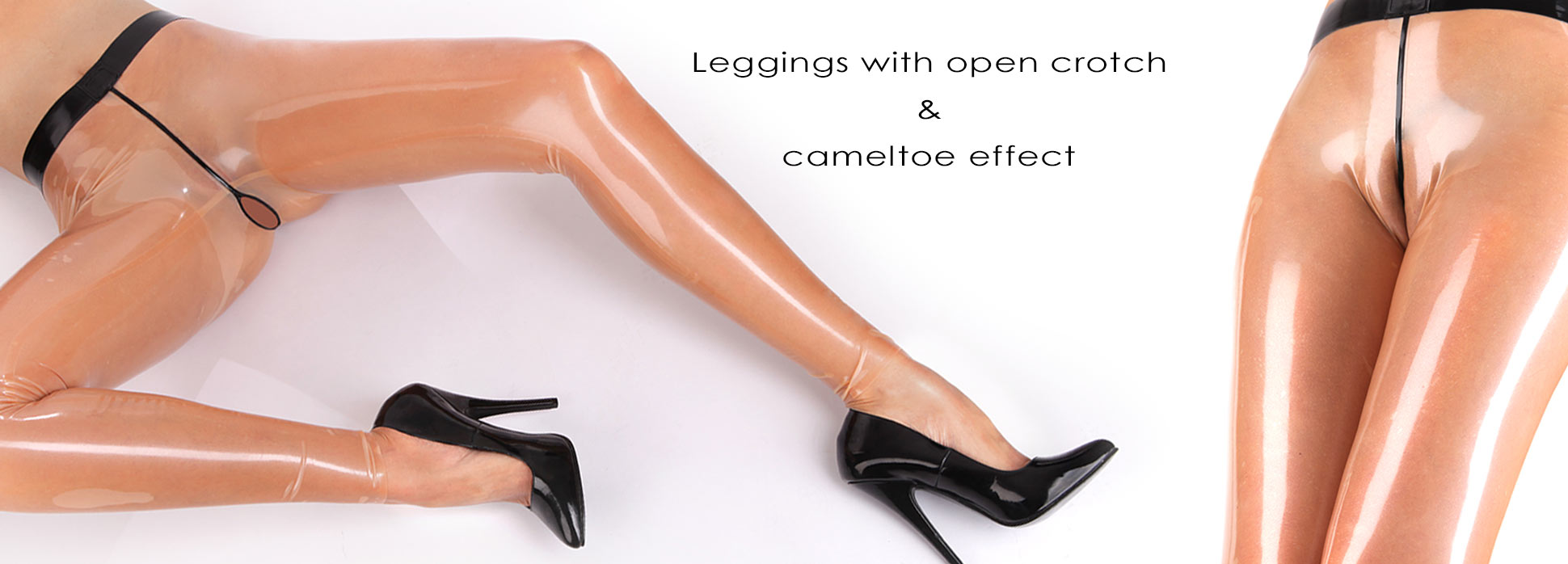 Latex Leggings with open crotch in transparent with black trim