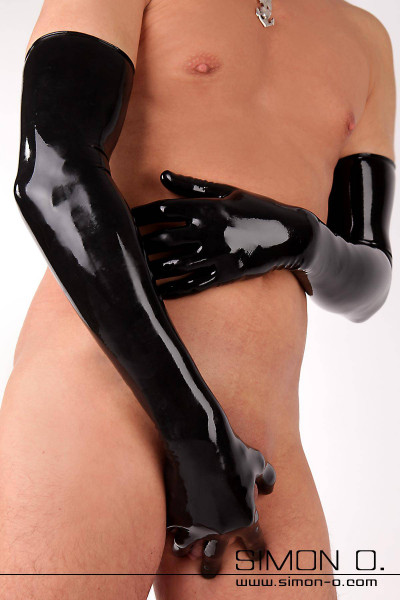 Shiny long latex gloves in black with rolled edge and tight fit