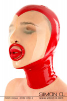 Preview: Blowjob latex mask with transparent face panel Fine transparent latex lays over the face. Watch your submissive latex slave through the transparent facial …