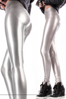 Preview: A woman wears a skintight shiny latex leggings in silver with High Heel Sneakers