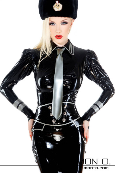 Latex blouse with lapel collar and puffed sleeves Lucious latex blouse in military style. A refined cut and with ornamentation on the lapel collar. The puff …