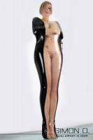Vorschau: Eine Frau in einem engen absperrbaren Latex Bondage Sack in Schwarz mit Transparenten Einsatz
