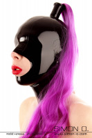 Preview: Slaves latex hood in black mouth open eyes closed with hairpiece in purple