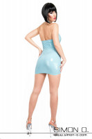 Preview: Shiny short summer latex mini dress in blue with halterneck seen from behind