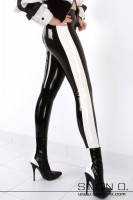 Preview: Ladies legs in a black shiny latex leggings with white stripes on the sides