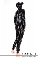 Preview: Shiny Training Overall with pockets and hood in black loosely cut but waisted with cuffs at arms and legs