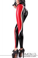 Vorschau: Sportliche Latex Leggings mit Einsatz in Kontrastfarbe Latex Leggings im sportlichen Design mit farblich abgesetzten Einsatz welcher von hinten beginnend …