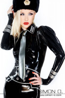 Preview: Latex blouse with lapel collar and puffed sleeves Lucious latex blouse in military style. A refined cut and with ornamentation on the lapel collar. The puff …