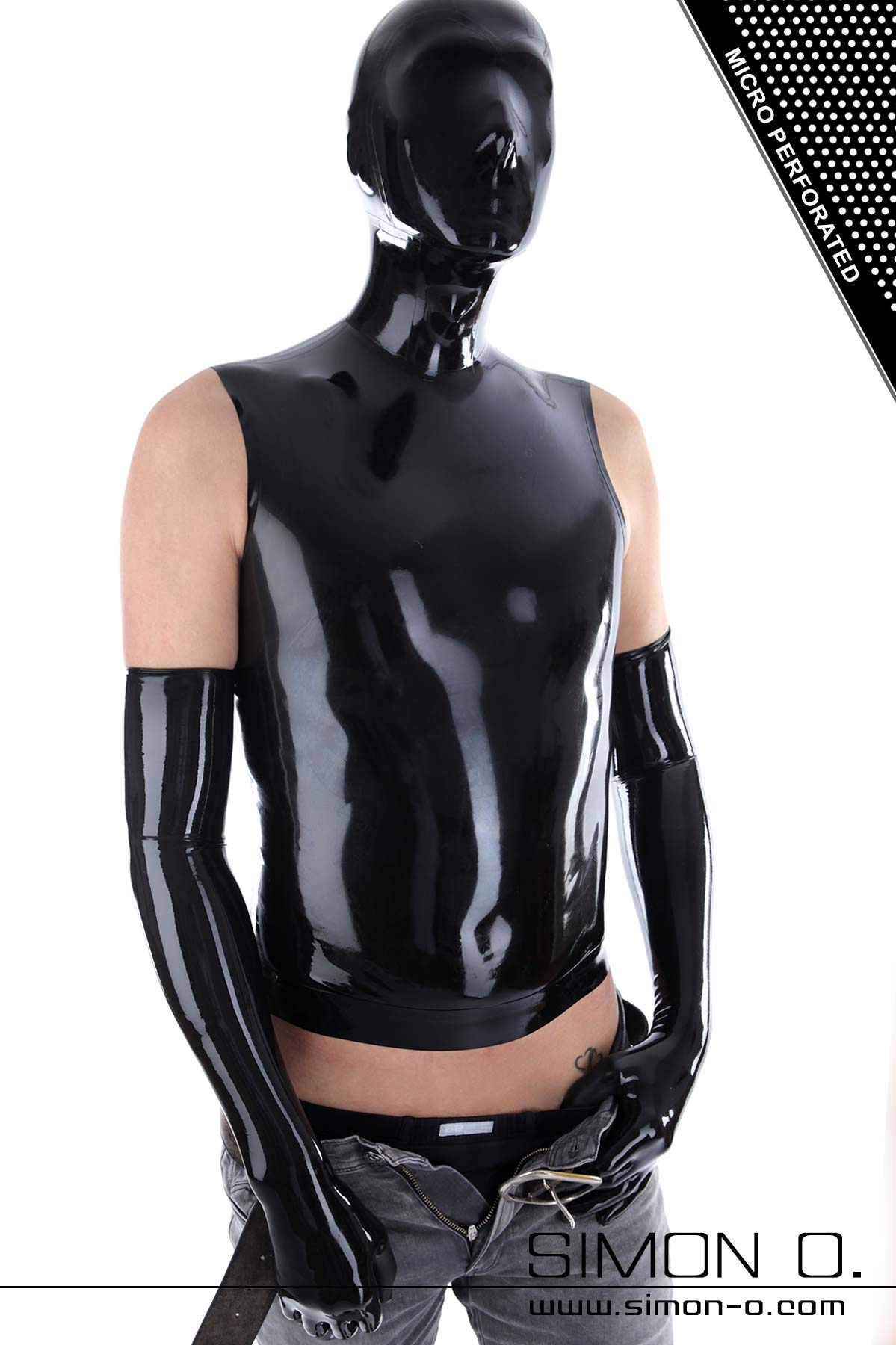Skintight shiny black latex shirt with attached latex hood seen from behind
