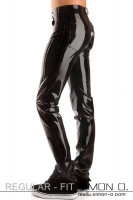 Preview: Tight black latex jeans with pockets wet look optics with high gloss surface