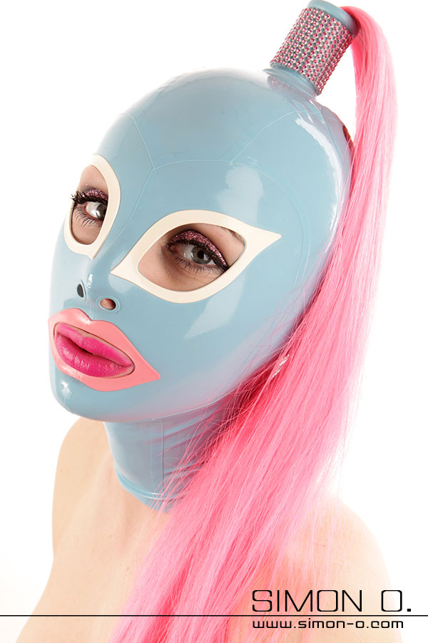 Latex mask with hair outlet for own hair or tube with hair piece